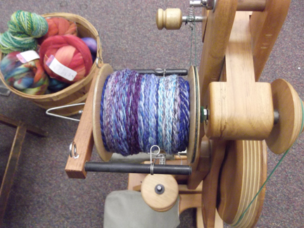 Blue roving spun and plyed